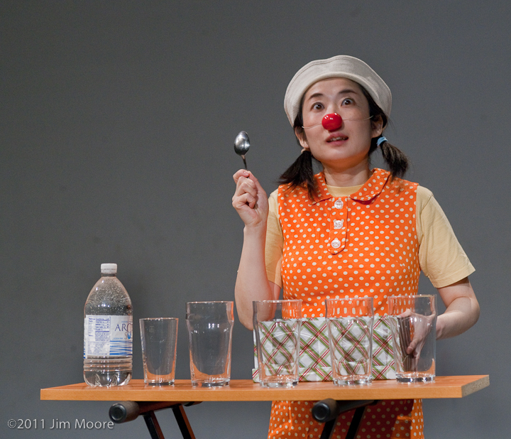 Kiki the clown performing at the New York Downtown Clown Revue