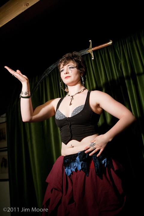 Miz Sharky performs with a sword at 'tinydangerousfun'