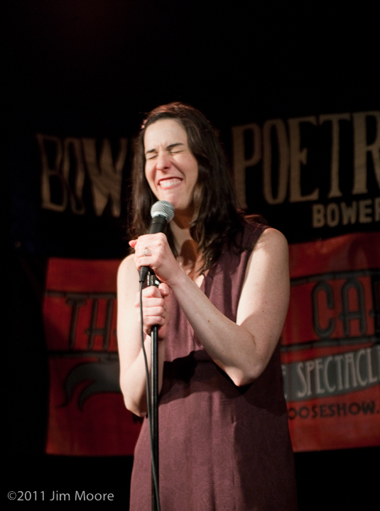 Shane Webb grimaces during her stand up routine at Loose Caboose