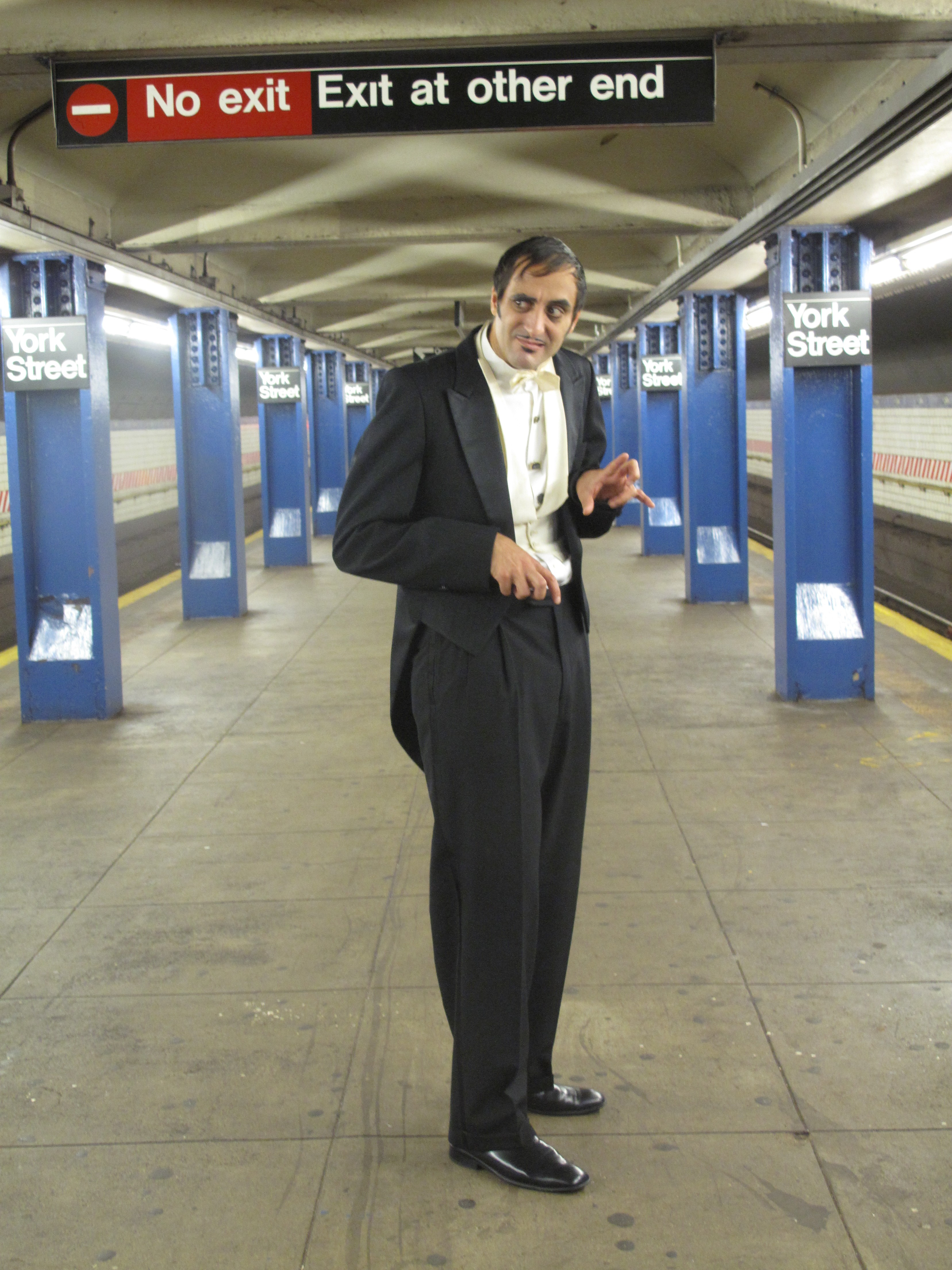"""Peter Daniel Straus in the subway during the shooting of """"The Ridiculous Romantic"""""""