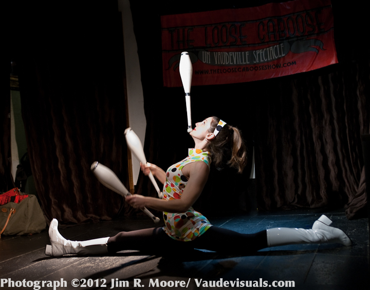 Kelsey Strauch doing a split at the Loose Caboose Variety Show
