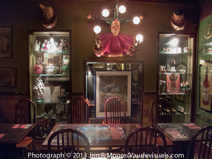 Cabinets andlighting fixtures all dedicated to the Art of Clown at The Clown Bar