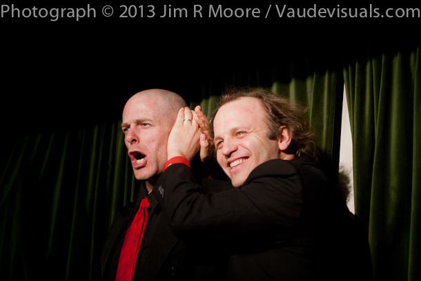 John Leo and Andy Sapora joke with one another.