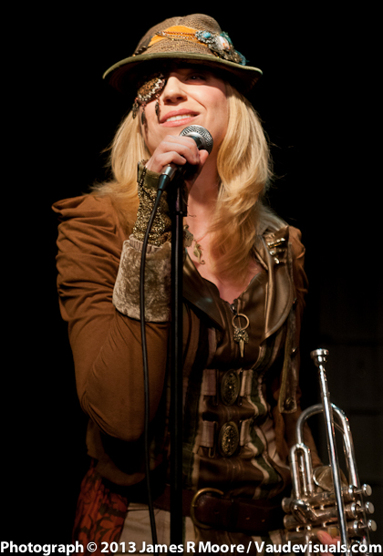 Jennifer Harder sings and plays the trumpet.