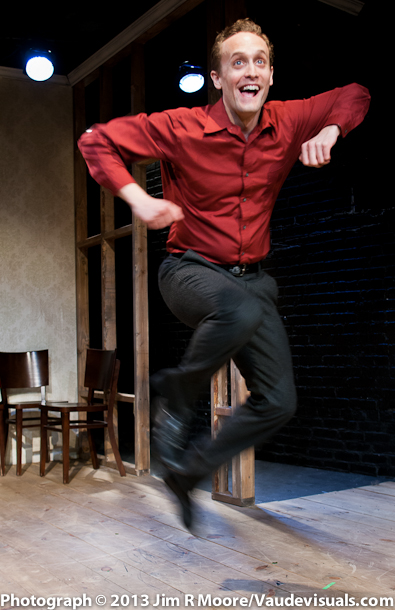 """Danny Gardner performing in his piece """"Man and Machine""""."""