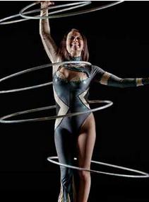Irina Burdetsky performing Hula Hoop act.