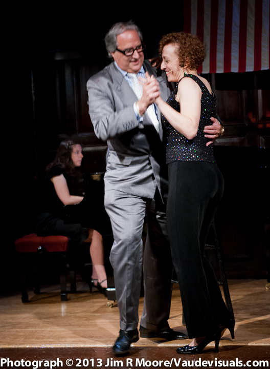 Rebecca Joy Fletcher dancing with Theatre Museum Chairman Stuart F. Lane during her act.