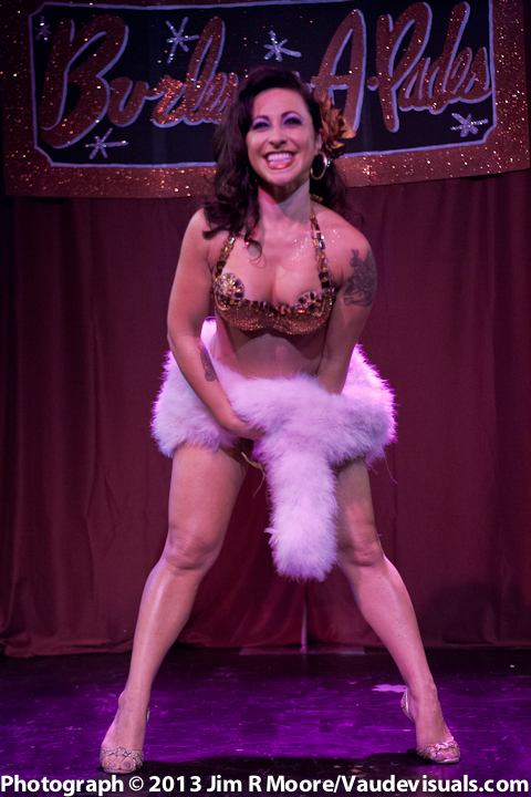 Sultry Angie Pontani starts off the show with a hot fur  number.