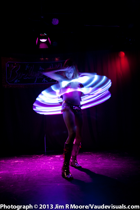 Pinky Special performs with her electrified Hula Hoops.