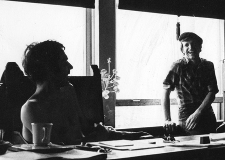 Paul J. Curtis and Jim R Moore at the office of American Mime Theatre.