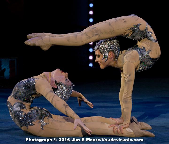 Anna and Emily Venizelos perform a contortion duet.
