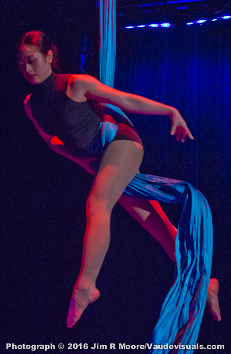 Diana Lin performs a aerial silk act.