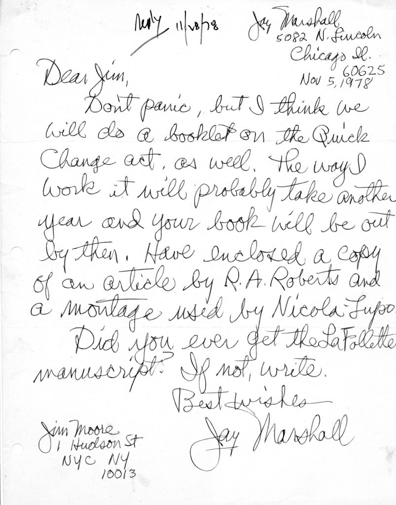 Letter from Jay Marshall
